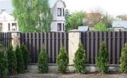 Забор из металлического штакетника и профнастила