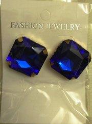 Серьги с позолотой напыление 18К бижутерия красивые с синими камнями
