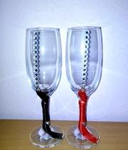 Свадебные бокалы ручной работы